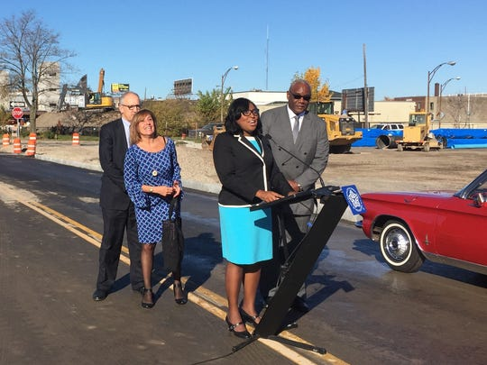 Mayor Lovely Warren announces the opening of roadway reconnecting Charlotte Street, which was long divided by the Inner Loop.