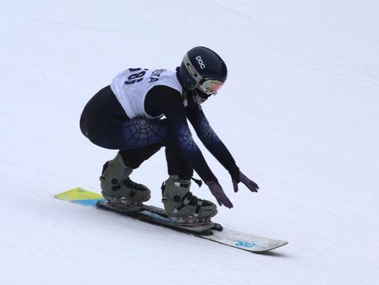 Shasta High's Sage Will wins the girls dual slalom