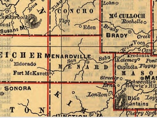 This detail of a railroad map of Texas in 1900 shows Menardville, as the town was known, before the name was shortened to Menard at the railroad's request.