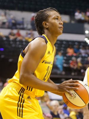 """Tamika Catchings said that players, in wearing black T-shirts, """"are paying respect and tribute to the cops that were killed in Dallas,"""" too, """"but there's a lot of other stuff outside of basketball that's going on"""""""