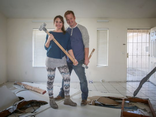 Eric and Lindsey Bennett the host of the TV show 'Desert Flippers' on HGTV at their latest project for season 2 of the show. Photo taken on Thursday, January 26, 2017 in Cathedral City.