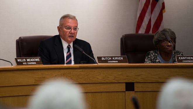 Greenville county council chairman Butch Kirven asks council members to vote on a motion for a special session regarding legal advice about sheriff Will Lewis on Tuesday, Oct. 24, 2017.