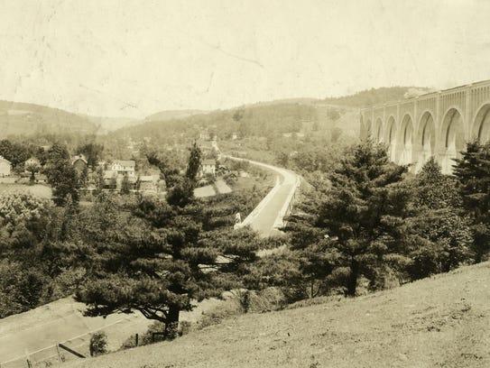 The bridge towers over the valley around Nicholson,