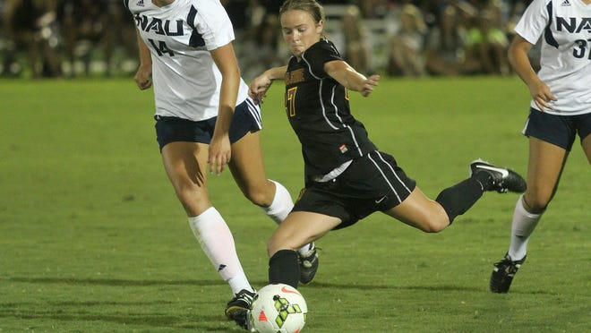 Arizona State's Aly Moon, pictured early this month, scored three goals against Hawaii on Sunday night