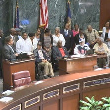 Some of baseball's living greats were honored at Atlanta City Hall on Monday.