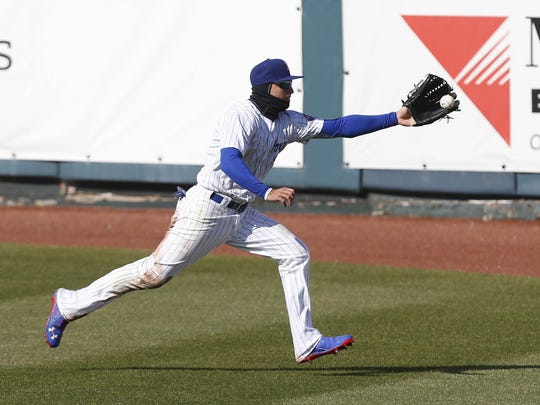Albert Almora Jr., during his first stint with the Iowa Cubs.