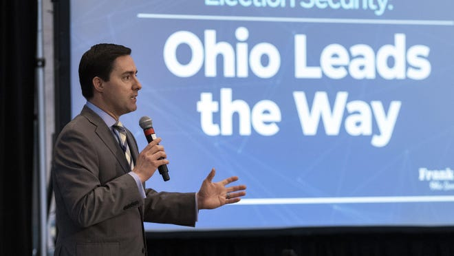 Secretary of State Frank LaRose delivers the keynote address during a conference about election cybersecurity at the Ohio Statehouse in Columbus on Monday, Feb. 10, 2020.