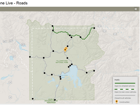 The green line indicates the only road open in Yellowstone Park in March. Interior roads are closed for snowplowing.