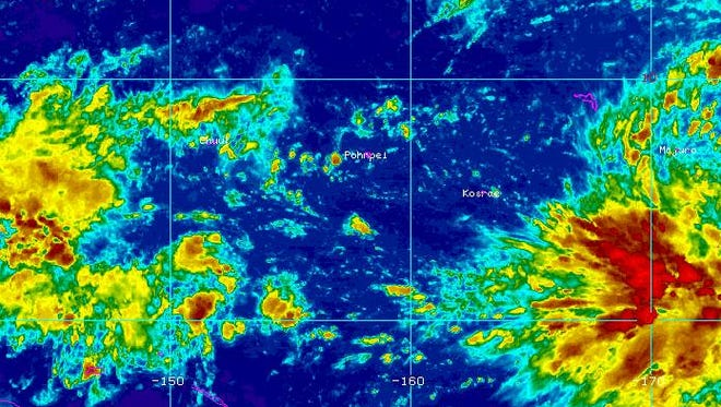 A tropical disturbance near Majuro is expected to bring some rainfall to the Marianas by the end of next week, National Weather Services officials said.