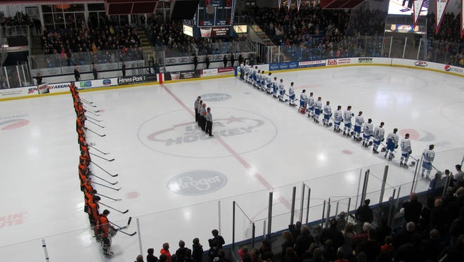 Brighton (left) and Detroit Catholic Central, teams that met for the state Division 1 hockey championship last season, will clash at 7:30 p.m. Saturday in the MIHL-KLAA Showcase in Livonia.