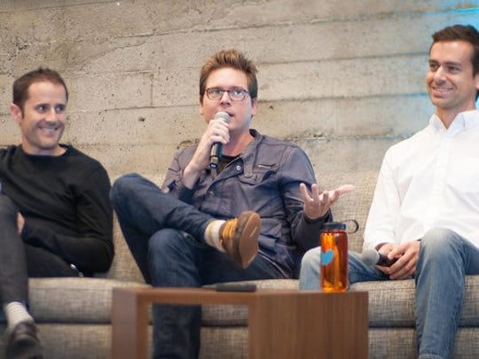Twitter co-founders Ev Williams, Biz Stone, and Jack Dorsey sitting on a couch