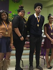 "Key'shia Clay, from left, Aaliyah Jackson, Yusef LeCompte and Amaya Michael are four of the 6 winners of the ""Admired African American"" essay contest. Not picture are Ian Wyatt and Malik Johnson."