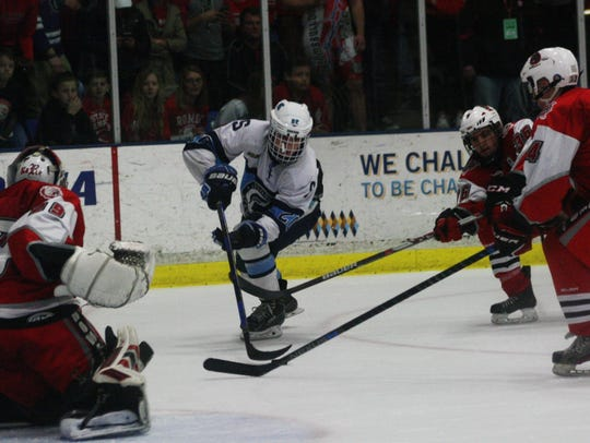 Stevenson's Alex Siroky nearly tied the game at 4-4