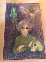 """Writer with company,"" colored pencil artwork by Gail"