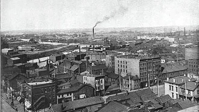 A photo from 1908 shows an aerial view of downtown Columbus, looking northwest.
