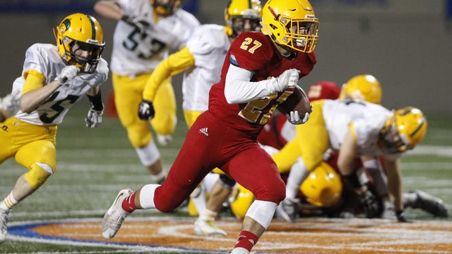 Palma's Emilio Martinez runs the ball against Live Oak for a touchdown during an 2016 CIF Central Coast Section playoff football game at Rabobank Stadium on Friday, November 18, 2016 in Salinas, Calif. -- Vernon McKnight/for The Californian