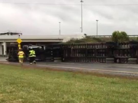 U.S. 30 east is shut down near the I-71 overpass after semi rollover on Monday, Oct. 23.