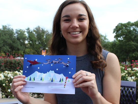 Katelyn Goodman recently was in Abilene and just happened to bring along her pop-up Christmas card designed for the Museum of Modern Art.