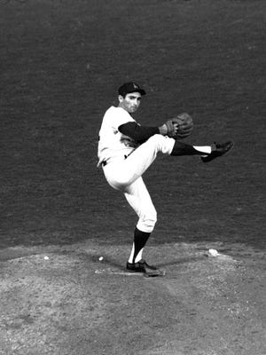 Sandy Koufax starts his windup during his perfect game on Sept. 9, 1965.