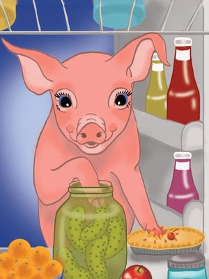 Piggy Pie sneaks a pickle from the farmer's jar.