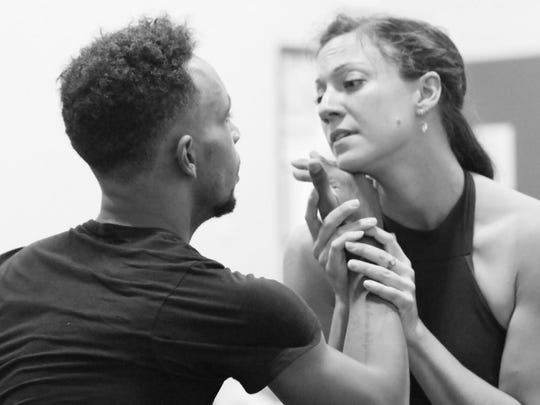 "Ihosvany Rodriguez and Erica Chipp as Romeo and Juliet in rehearsal for SNB's production of ""Romeo and Juliet-The Ballet."""
