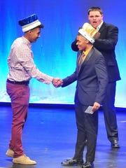 Mr. CRHS 2017 Dane Johnson (left) congratulates Mr.