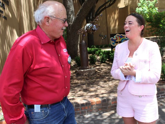 Jack Rentz, left, and Alex Russell share a laugh after the May 10 announcement by Russell to support Rentz in his Abilene City Council Place 2 runoff against incumbent Bruce Kreitler. Rentz won the most election votes, with Russell finishing third.