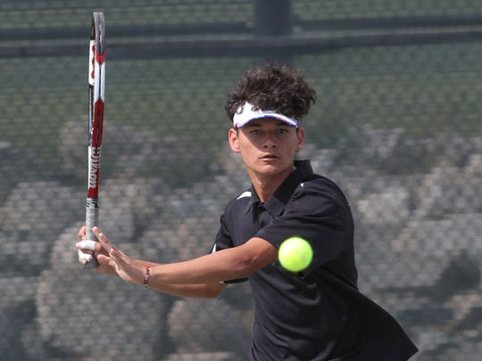 Eduardo Contreras of Desert Hot Springs, shown here in 2018, won a second league singles title Tuesday.