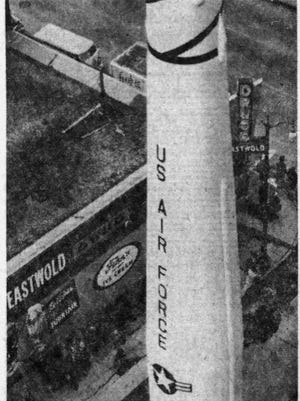 This photo shows the Thor missile from the roof of the National Bank of South Dakota building.