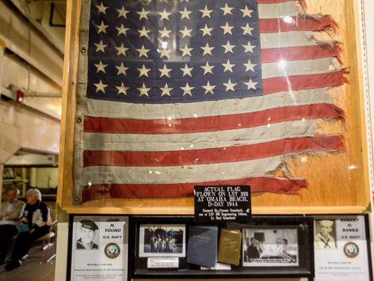 The flag flown on the USS LST 393 at Omaha Beach, D-Day