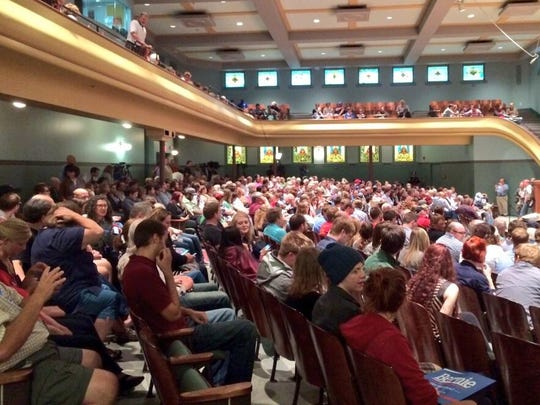 Bernie Sanders, a Democratic candidate for the 2016 presidential race, has been drawing big audiences in Iowa, such as this boisterous crowd of more than 700 people at Drake University on June 16, 2015.