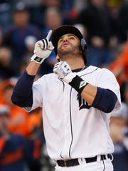 Tigers rightfielder J.D. Martinez celebrates after hitting a three-run home run during the second inning Wednesday at Comerica Park.