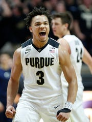 Carsen Edwards of Purdue lets out a scream as  Penn State calls a timeout in the second half Sunday, February 18, 2018, at Mackey Arena. Purdue defeated Penn State 76-73.