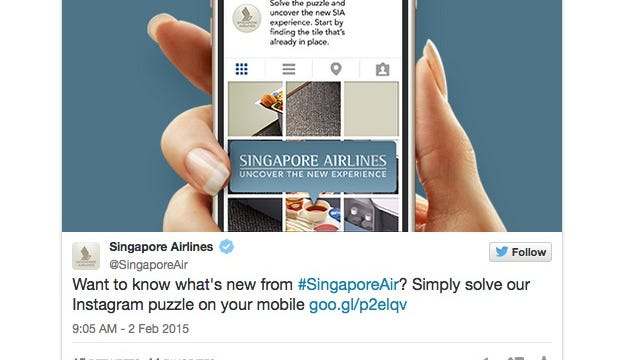 Screenshot of Singapore Airlines' fun Instagram puzzle taken from Twitter.