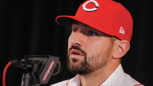 Nick Castellanos takes questions during a Tuesday news conference after sigining a four-year, $64 million contract with the Cincinnati Reds.