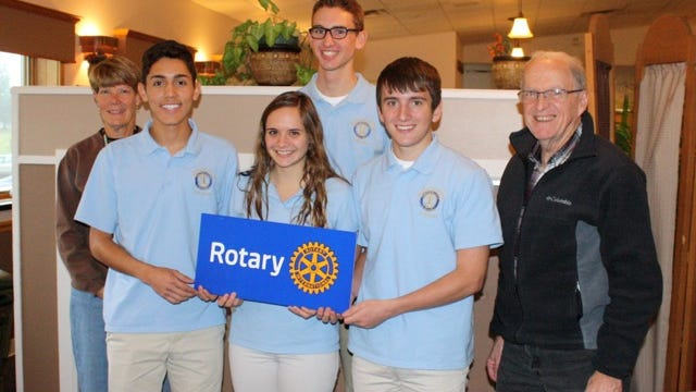 Bath Rotary Club recognized the officers of the Bath-Haverling Central School Interact Club at a weekly club luncheon. Pictured, front row, left to right are: Andres Warren, Julia Longacre, Colton Green, Dave Stewart; back row, left to right, Becky Stranges and Colin Gilbert.