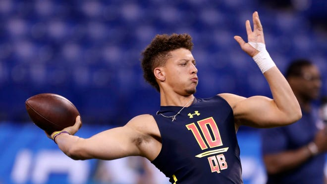 Texas Tech quarterback Patrick Mahomes throws a pass during the 2017 NFL Combine at Lucas Oil Stadium, Mar. 4, 2017.