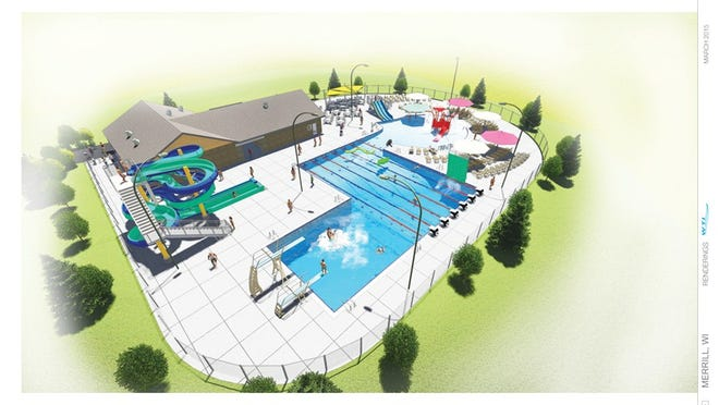 A rendering of the new Merrill Aquatic Center to open in June 2016.