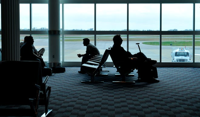 Passengers wait at the Montgomery Regional Airport in this 2008 file photo.