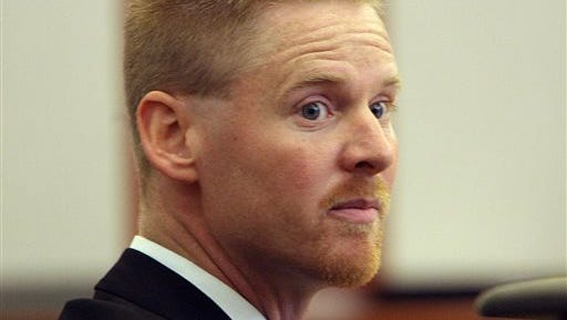 In this file photo, Dell Schanze watches the proceedings during his trial in West Jordan, Utah. The TV pitchman accused of chasing a barn owl in flight on his motorized paraglider is expected to appear in federal court Thursday. The U.S. Attorney's Office in Utah says Schanze knowingly using an aircraft to harass wildlife and pursuing a migratory bird.