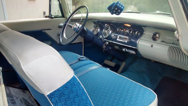 The custom blue and white cloth and Naugahyde interior of the 1955 Chrysler Blue Heron that Jim and Joyce Kelso, of Prescott, will display at the Prescott Antique Auto Club Car Show and Old Engine Fire-up event.