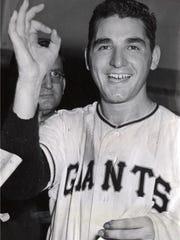 Baseball pitcher Johnny Antonelli of the New York Giants.