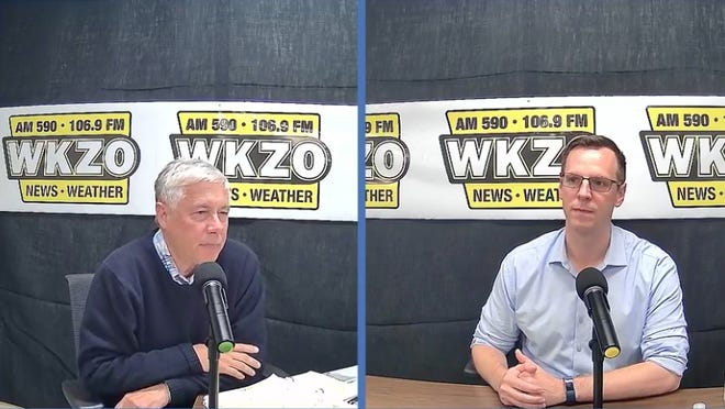 U.S. Rep. Fred Upton (left) and Democratic challenge state Rep. Jon Hoadley participate in a debate on Kalamazoo radio station WKZO Monday, Sept. 28. Upton, who has represented Michigan's Sixth Congressional District since 1987, is being challenged by Hoadley, a Democrat who has represented the Kalamazoo area in the Michigan House of Representatives since 2014.
