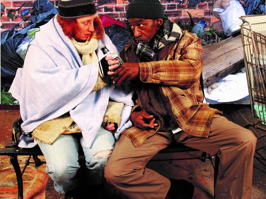 """Leah Smith and Robert Vogue (Williams"""" in """"Homeless and How We Got That Way"""" at Detroit Repertory Theatre."""
