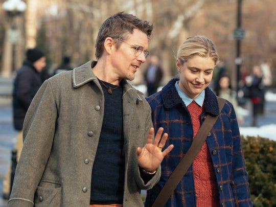 Maggie (Greta Gerwig) and John (Ethan Hawke) fall in