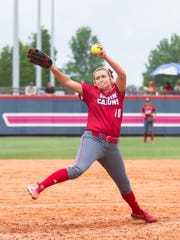 Alison Deville pitches for the Cajuns on Thursday against Georgia State.