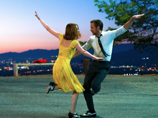 "Emma Stone and Ryan Gosling star in ""La La Land,"" showing"