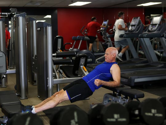 November 13, 2017 - Adrian Kurre, 61, the global head of Memphis-based Homewood Suites and Home2, exercises in the company gym on Monday. Kurre has stuck to his plan for more than 1,700 straight days to exercise and eat nutritiously to maintain his physical abilities.