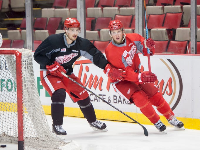 Red Wings defenseman Brendan Smith, left, and left