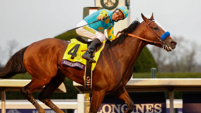 American Pharoah and Victor Espinoza win the Breeders' Classic and set a track record for the distance. Oct. 31, 2015
